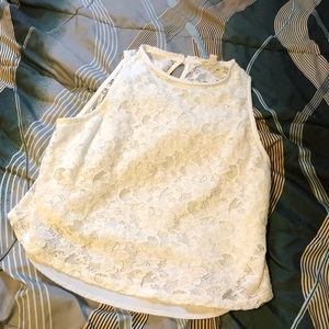 Rolla Coster white floral lace tank top